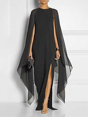 cheap Evening Dresses-Sheath / Column Elegant Black Wedding Guest Formal Evening Dress Jewel Neck Sleeveless Floor Length Chiffon with Draping Split Front 2020