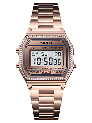cheap Smart Watches-SKMEI Women's Dress Watch Wrist Watch Diamond Watch Digital Luxury Alarm Stainless Steel Black / Silver / Gold Digital - Rose Gold Black Gold One Year Battery Life / Calendar / date / day / Stopwatch