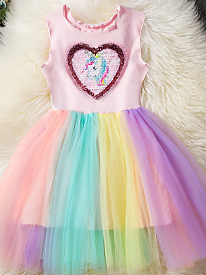 cheap Girls' Dresses-Kids Girls' Basic Unicorn Rainbow Patchwork Sleeveless Dress Blushing Pink