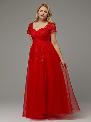 7174b6a6773f ADOR Prom Dresses Plus Size A-Line Queen Anne Floor Length Tulle with  Beading /