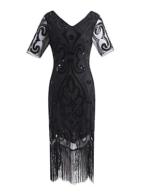 cheap Maxi Dresses-The Great Gatsby Charleston Vintage 1920s Flapper Dress Party Costume Masquerade Women's Lace Sequins Tassel Sequin Costume Black / Black+Golden / Black+Sliver Vintage Cosplay Party Homecoming Prom