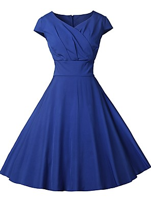 cheap Women's Dresses-Women's Red Royal Blue Dress 1950s Vintage A Line Solid Colored V Neck Wrap S M / Belt Not Included