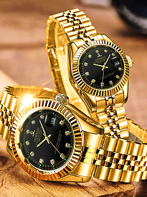 cheap Quartz Watches-Couple's Dress Watch Quartz Matching His And Her Luxury Water Resistant / Waterproof Stainless Steel Gold Analog - White Black Blue / Calendar / date / day