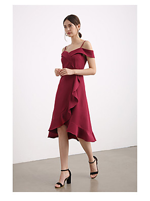 cheap Bridesmaid Dresses-A-Line Straps Knee Length Chiffon Bridesmaid Dress with Split Front / Cascading Ruffles / Open Back