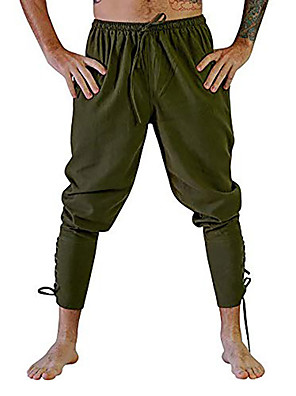 cheap Historical & Vintage Costumes-Knight Ritter Renaissance Ancient Rome Pants Masquerade Men's Costume Black / Brown / White Vintage Cosplay Halloween Masquerade