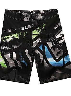 cheap Men's Exotic Underwear-Beach Board Shorts Men's Black White Swim Trunk One-piece Swimwear Swimsuit - Geometric M L XL Black