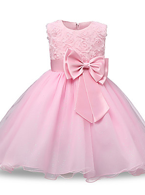 cheap Girls' Dresses-Princess Midi Wedding / Party / Pageant Flower Girl Dresses - Lace / Tulle Sleeveless Jewel Neck with Petal / Belt / Bow(s)