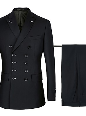 cheap Prom Dresses-Navy / Black Solid Colored Standard Fit Cotton / Polyster Suit - Peak Double Breasted Six-buttons / Suits