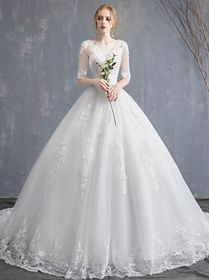 cheap Wedding Dresses-Ball Gown Wedding Dresses Scoop Neck Chapel Train Lace Tulle Sequined Half Sleeve Glamorous See-Through Illusion Sleeve with Lace Appliques 2020