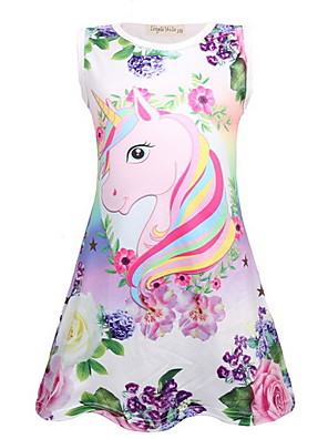 cheap Girls' Dresses-Kids Girls' Cute Unicorn Cartoon Sleeveless Above Knee Dress Purple
