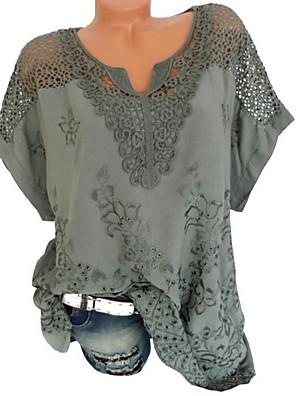 povoljno Bluza-Žene Veći konfekcijski brojevi Jednobojni Čipka Majica s rukavima V izrez Obala / Crn / Plava / Red / Sive boje