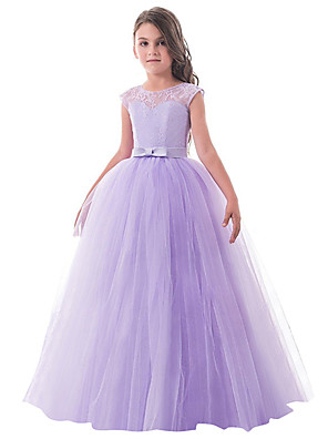 cheap Flower Girl Dresses-Princess Long Length Party / Birthday / Pageant Flower Girl Dresses - Lace / Tulle Sleeveless Jewel Neck with Lace / Bow(s)