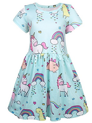 baratos Vestidos De Unicórnio-Infantil Para Meninas Doce Unicorn Geométrica Estampado Manga Curta Acima do Joelho Vestido Azul Claro
