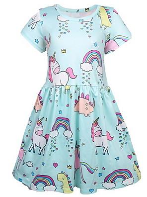 cheap Girls' Dresses-Kids Girls' Sweet Unicorn Geometric Print Short Sleeve Above Knee Dress Light Blue