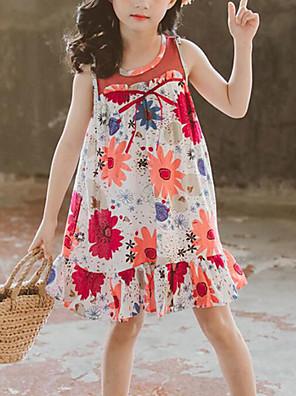 cheap Girls' Dresses-Kids Girls' Cute Street chic Floral Patchwork Patchwork Print Sleeveless Dress Red