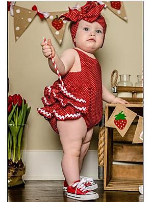 cheap Girls' Dresses-Baby Girls' Active Daily Polka Dot Stylish Sleeveless Cotton Bodysuit Red / Toddler