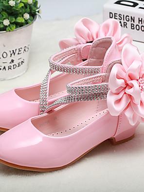 cheap Girls' Dresses-Girls' Flower Girl Shoes / Tiny Heels for Teens PU Heels Toddler(9m-4ys) / Little Kids(4-7ys) / Big Kids(7years +) Flower White / Pink Spring / Fall / Wedding / Party & Evening / Wedding / Rubber