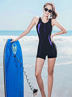 cheap Athletic Swimwear-SANQI Women's One Piece Swimsuit Patchwork Padded Swimwear Swimwear Blue Black Breathable Quick Dry Ultra Light (UL) Sleeveless - Swimming Water Sports Summer / Neoprene / High Elasticity / Neoprene