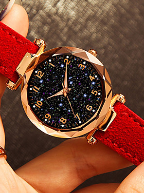 cheap Quartz Watches-Women's Wrist Watch Quartz Leather Black / Blue / Red 30 m Water Resistant / Waterproof Creative Analog Fashion Colorful Astronomical - Brown Red Green