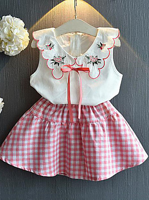 cheap Girls' Dresses-Kids Girls' Active Street chic Casual / Daily Floral Plaid Bow Embroidered Sleeveless Regular Clothing Set Blushing Pink