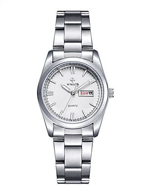 cheap Quartz Watches-Women's Dress Watch Quartz Casual Calendar / date / day Silver Analog - White Blue Pink / Noctilucent / Moon Phase