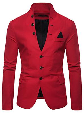 hesapli Erkek Kazakları ve Hırkaları-Erkek Dik Yaka Blazer Solid Beyaz / Siyah / YAKUT M / L / XL / İnce