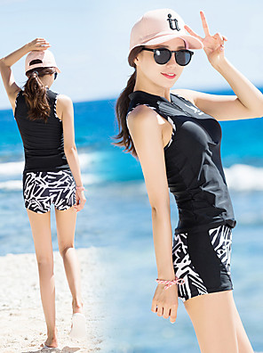 cheap Athletic Swimwear-SANQI Women's Tankini Neoprene Swimwear Breathable Quick Dry Sleeveless Front Zip - Swimming Water Sports Zebra Summer / High Elasticity