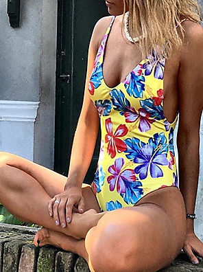 cheap Bikinis-Women's Vintage Style Floral Style One-piece Swimsuit Print Floral Halter Neck Swimwear Bathing Suits Yellow Fuchsia Green / Padded Bras
