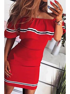 cheap Women's Dresses-Women's Bodycon Dress - Short Sleeve Off Shoulder Slim Black Red Yellow Blushing Pink S M L XL