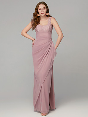 cheap Evening Dresses-Sheath / Column Elegant Formal Evening Wedding Party Dress U Neck Sleeveless Floor Length Mesh Lace with Ruffles Split Front 2020