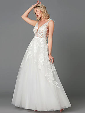 cheap Special Occasion Dresses-A-Line Wedding Dresses Plunging Neck Floor Length Lace Tulle Sleeveless See-Through with Appliques 2020