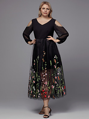 cheap Cocktail Dresses-A-Line Plus Size Black Holiday Cocktail Party Dress V Neck 3/4 Length Sleeve Tea Length Tulle with Beading Appliques 2020
