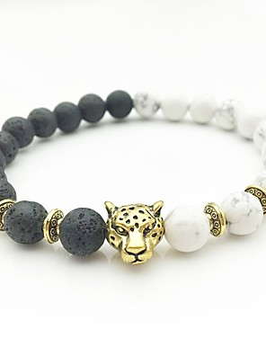 cheap Sport Watches-Men's Silver Gold AAA Cubic Zirconia Bead Bracelet Beads Cathedral Monster yin yang Hip-Hop Boho Stone Bracelet Jewelry Gold / Silver For Wedding Engagement