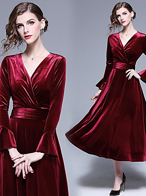 cheap Bridesmaid Dresses-A-Line V Neck Midi Velvet Bridesmaid Dress with Ruching