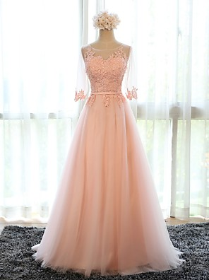 cheap Bridesmaid Dresses-A-Line Floral Pink Prom Formal Evening Dress Illusion Neck Half Sleeve Sweep / Brush Train Tulle with Appliques 2020