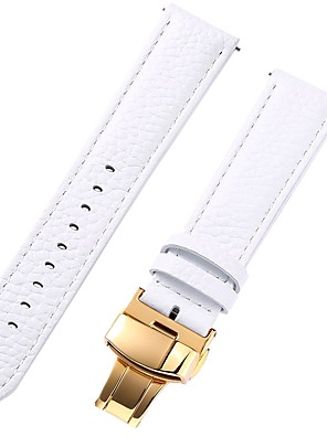 cheap Leather Watch Bands-Genuine Leather / Leather / Calf Hair Watch Band White 17cm / 6.69 Inches / 18cm / 7 Inches / 19cm / 7.48 Inches 1cm / 0.39 Inches / 1.2cm / 0.47 Inches / 1.3cm / 0.5 Inches