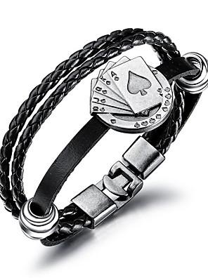 cheap Sport Watches-Men's Leather Bracelet Loom Bracelet Braided Poker Trendy Fashion Cord Bracelet Jewelry Black For Daily Work