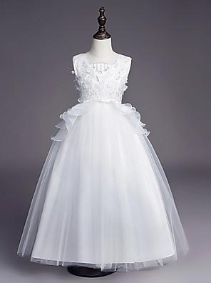 cheap Flower Girl Dresses-Princess Long Length Wedding / First Communion Flower Girl Dresses - Satin / Tulle Sleeveless Jewel Neck with Belt / Beading / Embroidery
