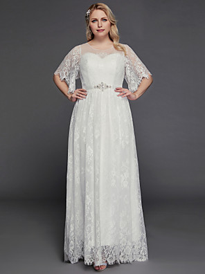 cheap Wedding Dresses-A-Line Wedding Dresses Illusion Neck Jewel Neck Floor Length Lace Tulle Half Sleeve Formal Boho Little White Dress See-Through with Beading Lace Insert 2020 / Petal Sleeve