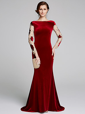 cheap Prom Dresses-Mermaid / Trumpet Mother of the Bride Dress Elegant & Luxurious Bateau Neck Sweep / Brush Train Velvet Long Sleeve with Appliques 2020