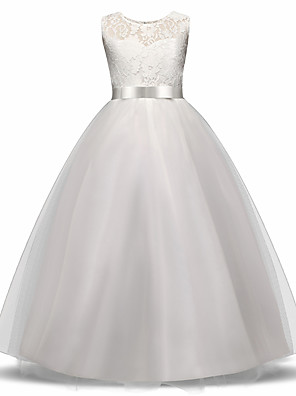 cheap Girls' Dresses-Princess Long Length Wedding / First Communion Flower Girl Dresses - Lace / Tulle Sleeveless Jewel Neck with Lace / Bow(s) / Embroidery