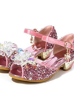 cheap Girls' Dresses-Girls' Flower Girl Shoes Synthetics Heels Toddler(9m-4ys) / Little Kids(4-7ys) / Big Kids(7years +) Crystal Silver / Blue / Pink Summer / Peep Toe / Rubber