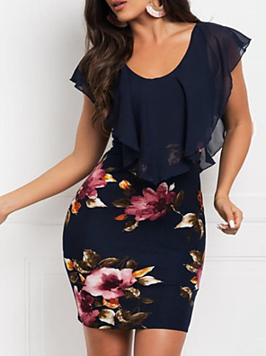 cheap Women's Dresses-Women's Mini Wine Navy Blue Dress Elegant Sheath Floral Floral Chiffon Print S M Slim