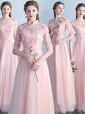 cheap Bridesmaid Dresses-Sheath / Column V Neck Ankle Length Lace / Tulle Bridesmaid Dress with Appliques / Lace