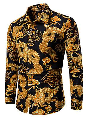 povoljno Muške košulje-Muškarci Majica Geometrijski oblici Grafika Etno Žakard Print Tops Klasični ovratnik Crn Plava Red