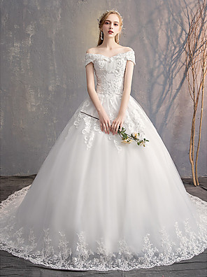 cheap Evening Dresses-Ball Gown Wedding Dresses Off Shoulder Court Train Tulle Lace Over Satin Short Sleeve Glamorous Illusion Detail with Crystals Beading Appliques 2020