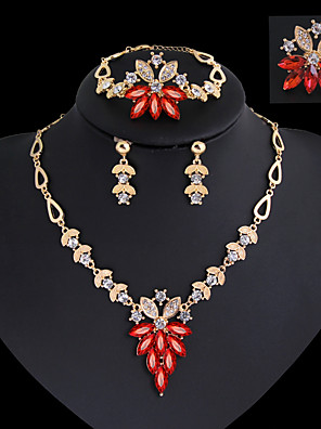 cheap Quartz Watches-Women's Drop Earrings Pendant Necklace Band Ring Classic Vintage Elegant everyday fancy Rhinestone Gold Plated Earrings Jewelry Red / Green For Party Holiday 1 set / Bracelet / Bridal Jewelry Sets