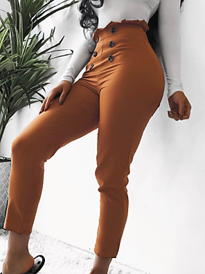 cheap Romantic Lace Dresses-Women's Basic Sophisticated Dress Pants Chinos Pants - Solid Colored Classic High Waist Black Camel S / M / L