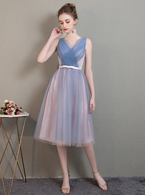 cheap Bridesmaid Dresses-Sheath / Column Off Shoulder Medium Length Tulle Bridesmaid Dress with Pleats