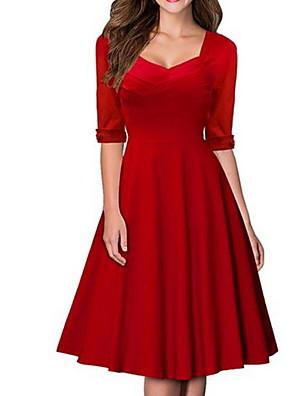 cheap Women's Dresses-Women's Red Black Dress Elegant A Line Solid Colored Square Neck S M